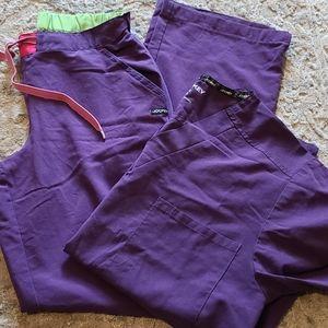 jacket purple stretch scrub set